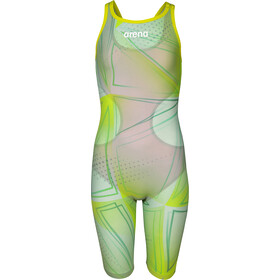 arena R-EVO ONE Full Body Short Leg Open Back Suit LTD Edition 2019 Girls, green glass